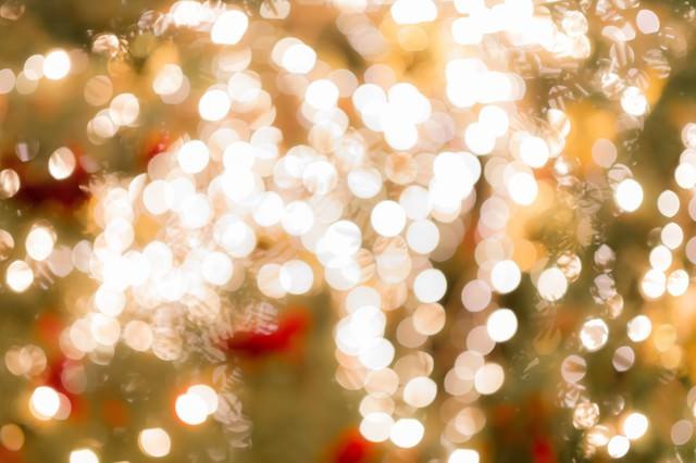 クリスマスツリーのライトアップ(ボケ)の写真