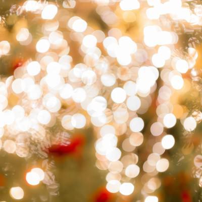 「クリスマスツリーのライトアップ(ボケ)」の写真素材