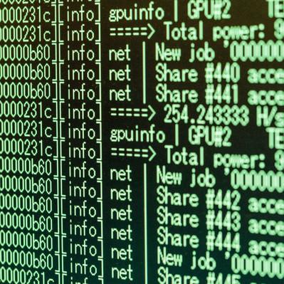 「暗号通貨マイニング」の写真素材