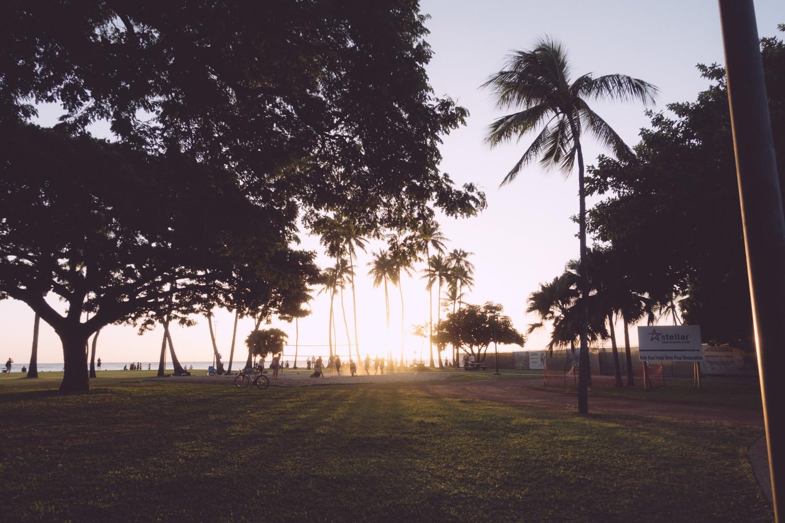 「フォート・デロシー・ビーチ・パークの奥に見えるサンセット」の写真