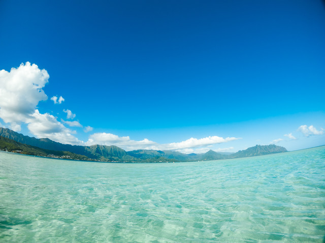 エメラルドグリーンに透き通った天国の海の写真