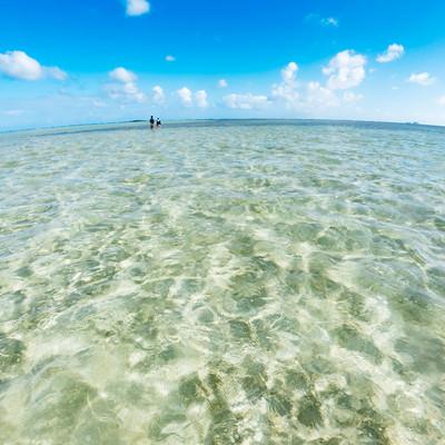 天国の海(ハワイ)でイチャイチャするカップルの写真