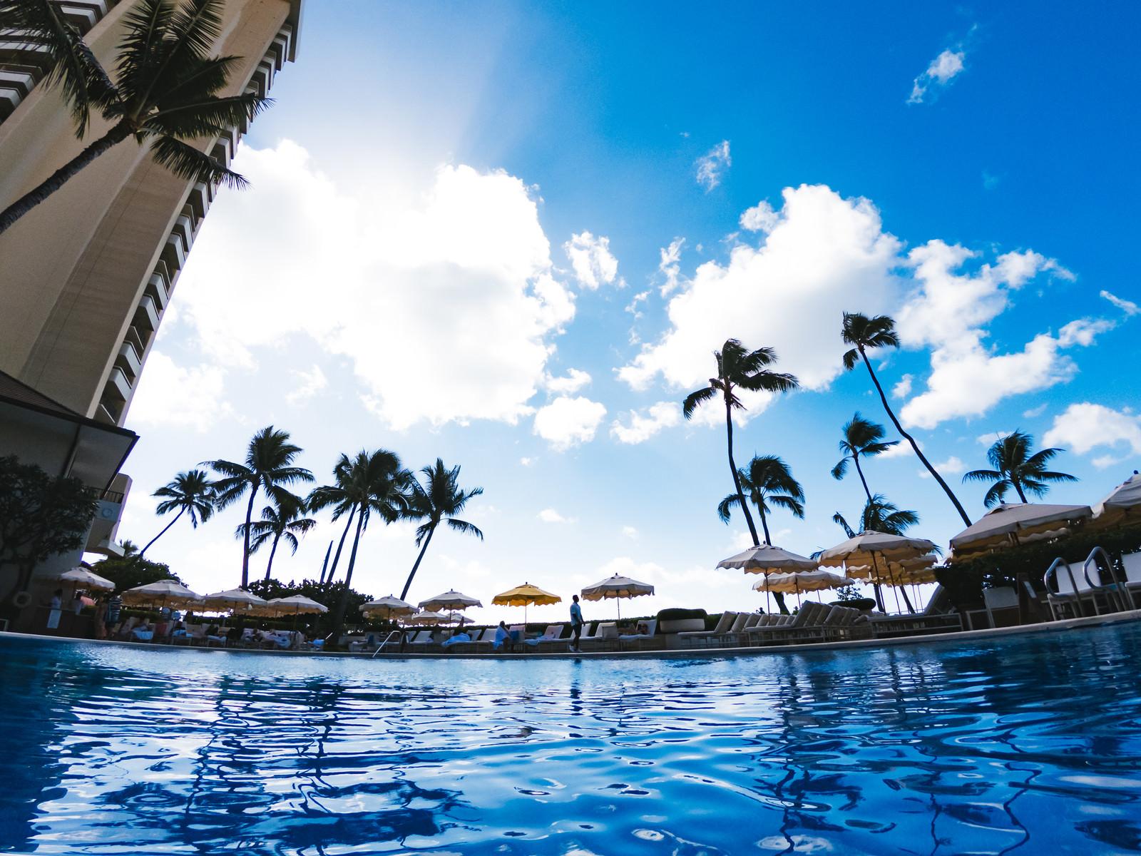 「南国のリゾートホテルのプール」の写真