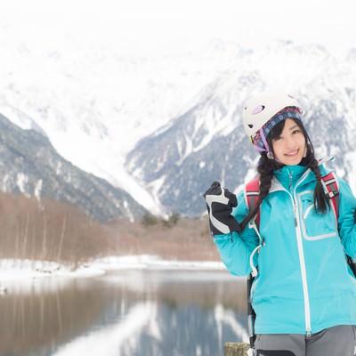 「冬の上高地を満喫するぞい!」の写真素材