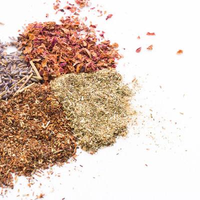 「4種類の香草や粉末」の写真素材