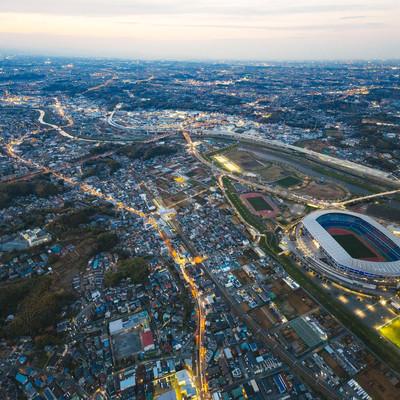 日産スタジアム上空(ヘリ空撮)の写真