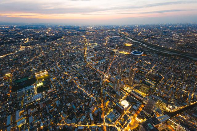 武蔵小杉のタワーマンション群(空撮)の写真