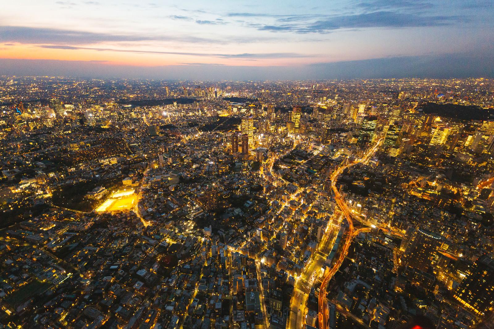 「東京上空の夜景(六本木方面)」の写真