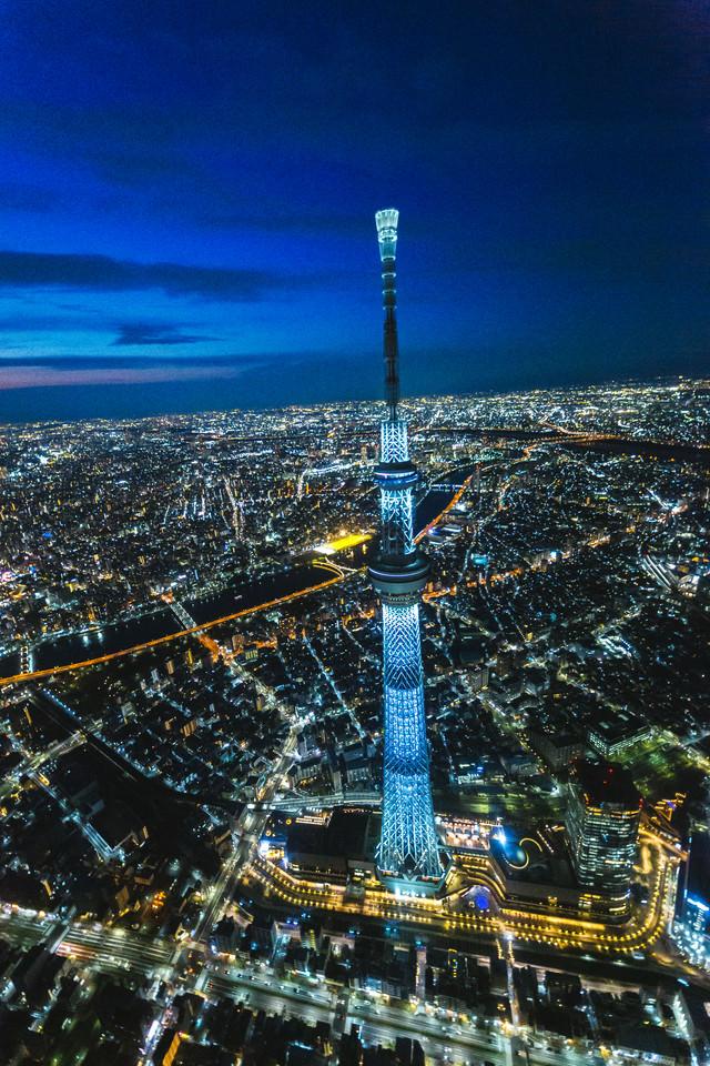 東京スカイツリーと夜景(空撮)の写真