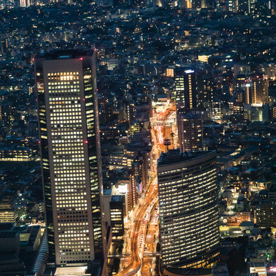ヘリ遊覧の都市夜景の写真