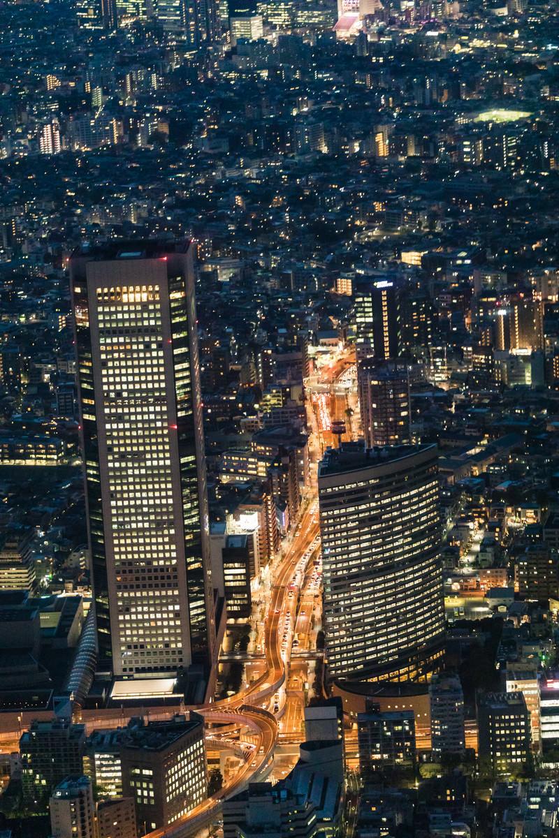 「ヘリ遊覧の都市夜景」の写真
