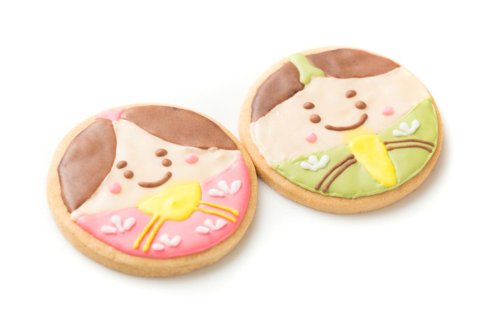 「男雛と女雛のアイシングクッキー」の写真