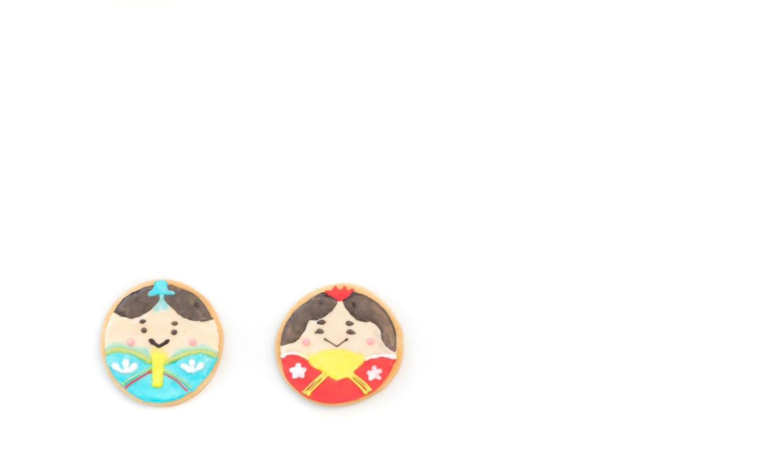 「ひなまつりの男雛と女雛(アイシングクッキー)」の写真