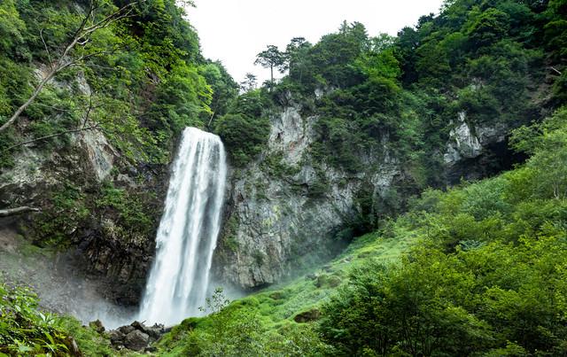 新緑の平湯大滝の写真