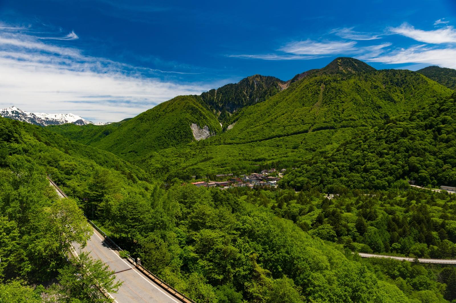 「夏の平湯温泉全景」の写真