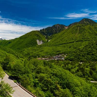 夏の平湯温泉全景の写真