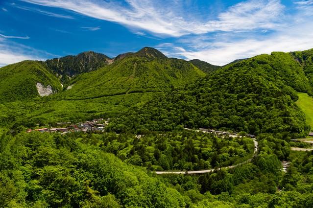 平湯温泉を一望できる158号線からの景観の写真