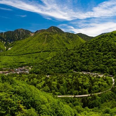 「平湯温泉を一望できる158号線からの景観」の写真素材