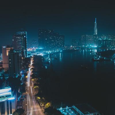ホーチミンの都市夜景の写真