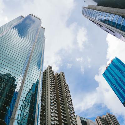「香港の都市部(ビル群)」の写真素材