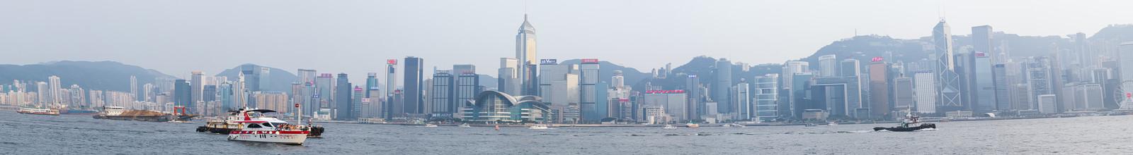 「香港ビクトリアハーバー(パノラマ)」の写真