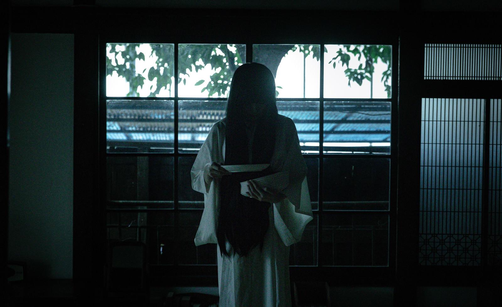 「皿の枚数を数える幽霊らしい女性」の写真[モデル:緋真煉]