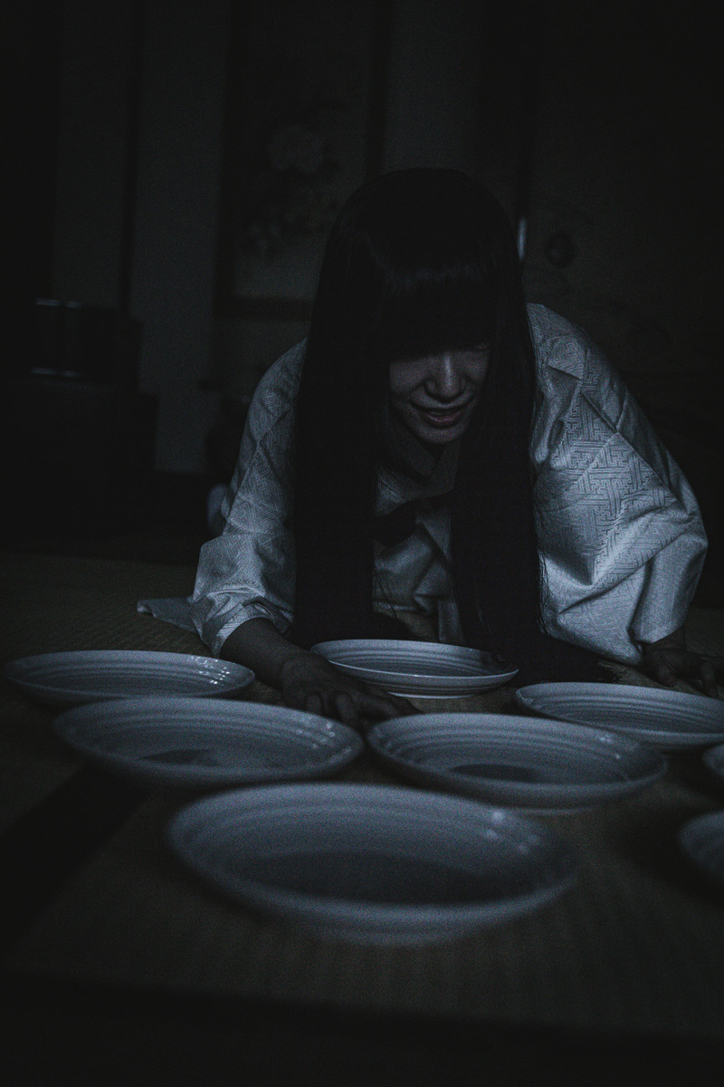 「夜な夜なお皿の数を数える女性」の写真[モデル:緋真煉]