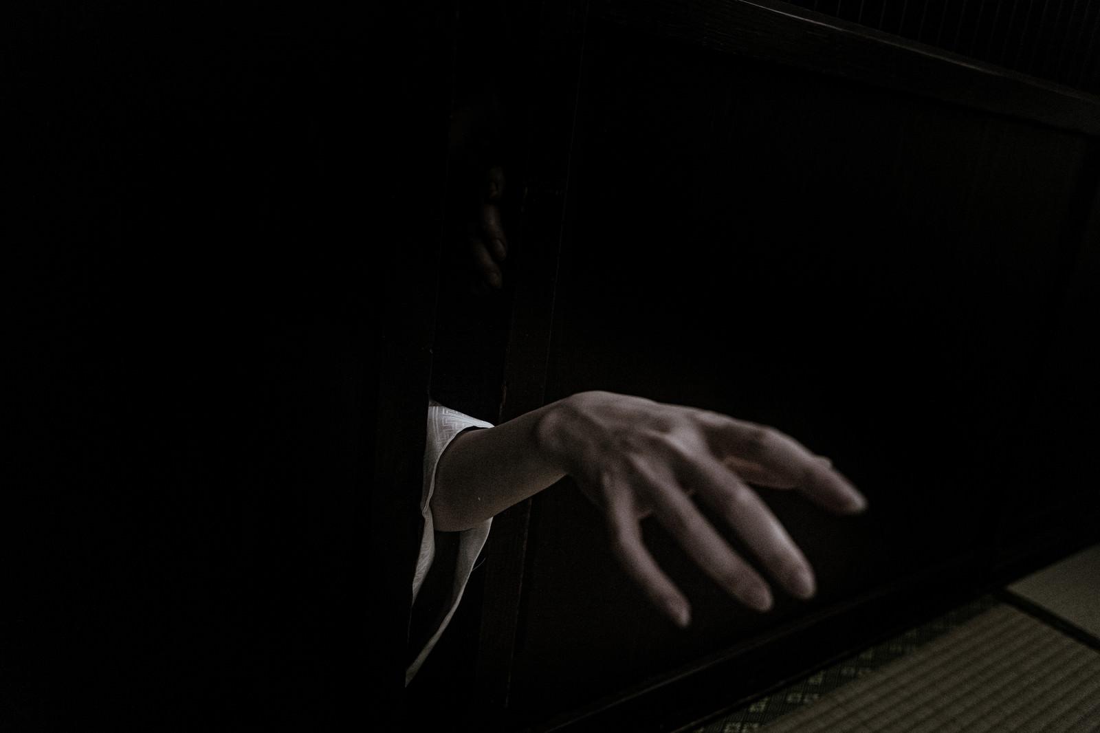 「隙間から手が伸びる」の写真