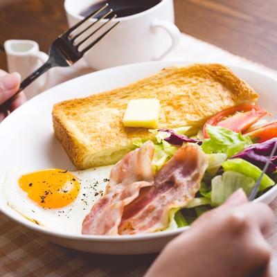 「朝食いただきます!」の写真素材