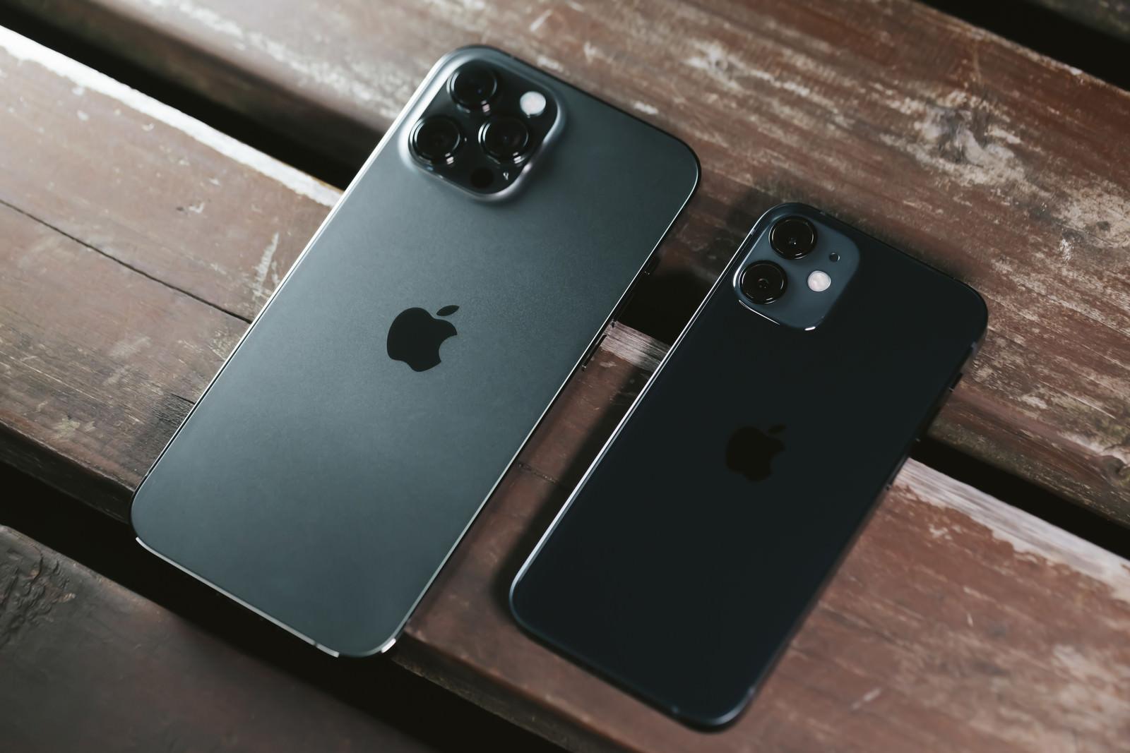 「iPhone 12 Pro Max と iPhone 12 mini の大きさ」の写真