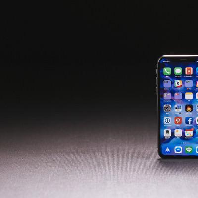 「iPhone X のホーム画面のアイコン」の写真素材