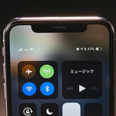 「iPhone X 端末上部のセンサー類」の写真素材