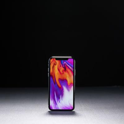 「iPhone X の画面表示領域」の写真素材