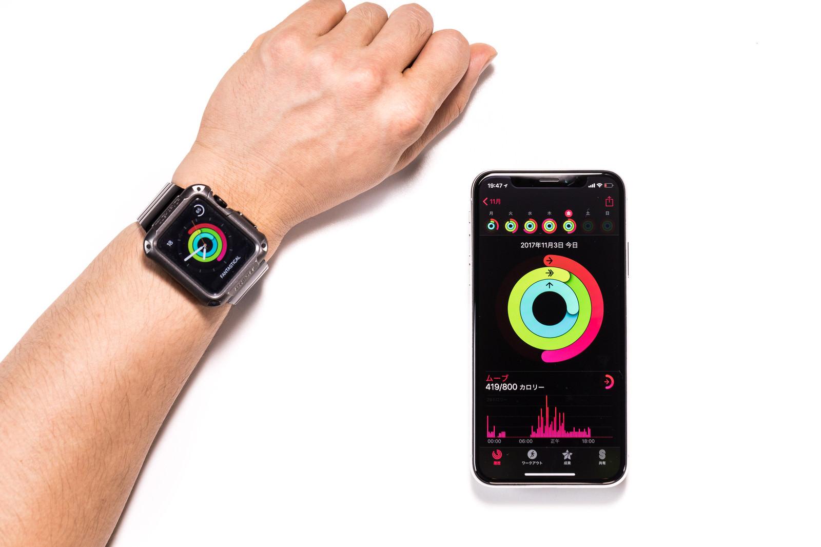 「iPhone と Apple watch を同期して表示」の写真