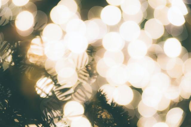 「光で溢れるクリスマスツリー」のフリー写真素材