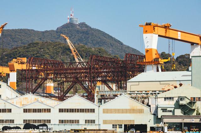 戦艦武蔵が建造された造船所と稲佐山展望台の写真