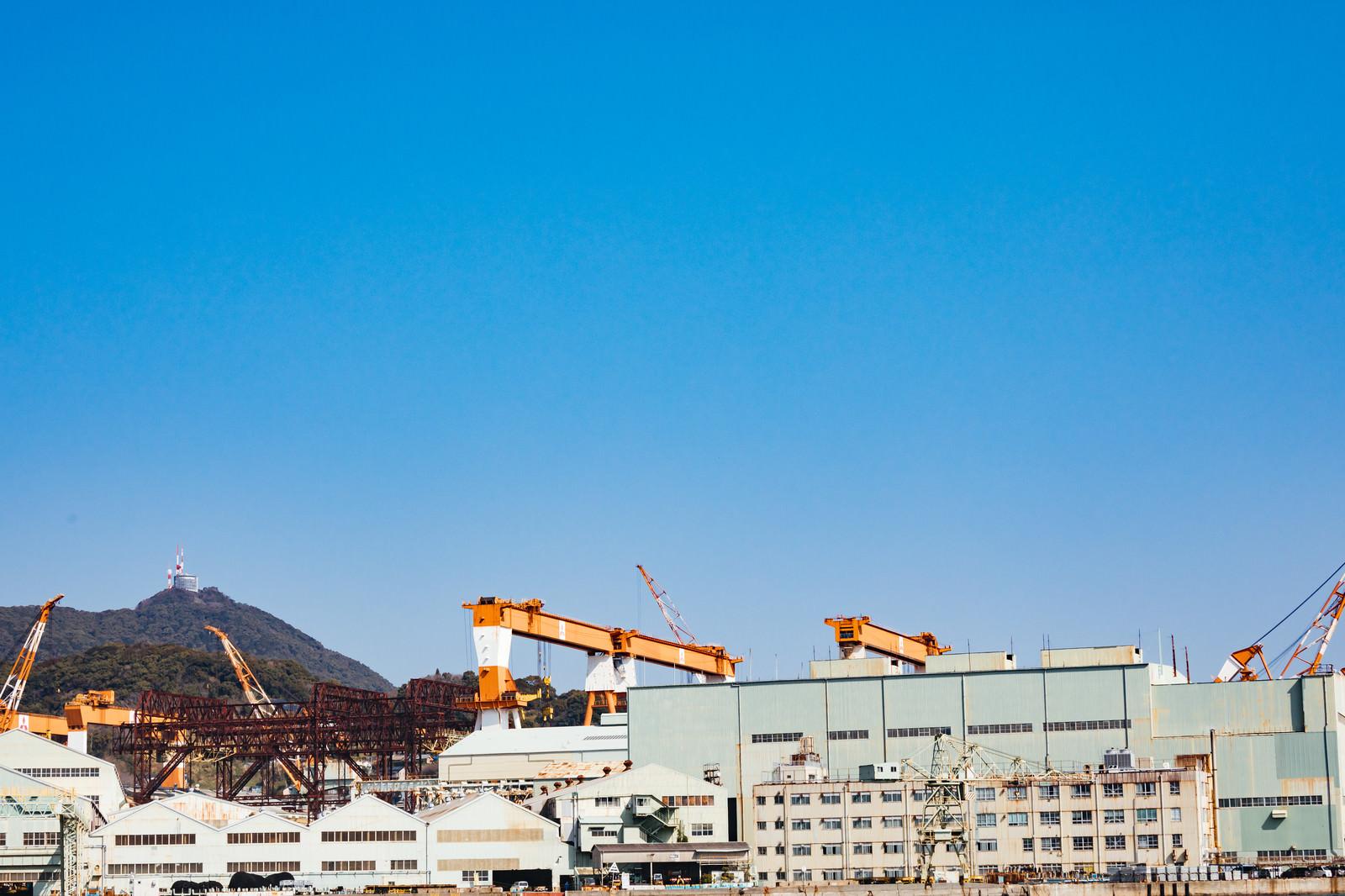 「戦艦武蔵を建造した三菱重工業造船所跡と稲佐山」の写真