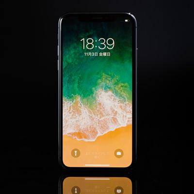 「ホームボタンが廃止された「iPhone X」」の写真素材