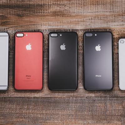 「iPhone 6s から iPhone 8 を並べる(背面)」の写真素材