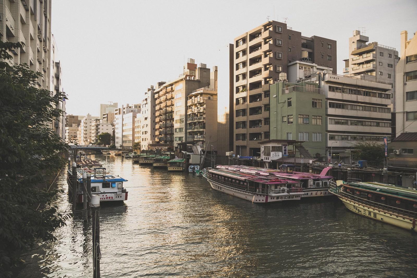 「屋形船が停泊している河川と夕暮れ屋形船が停泊している河川と夕暮れ」のフリー写真素材を拡大
