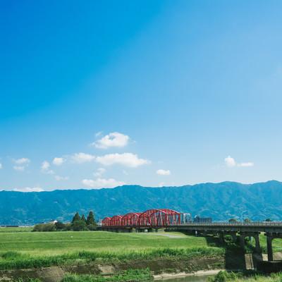 「片の瀬橋の景観(三井郡大刀洗)」の写真素材
