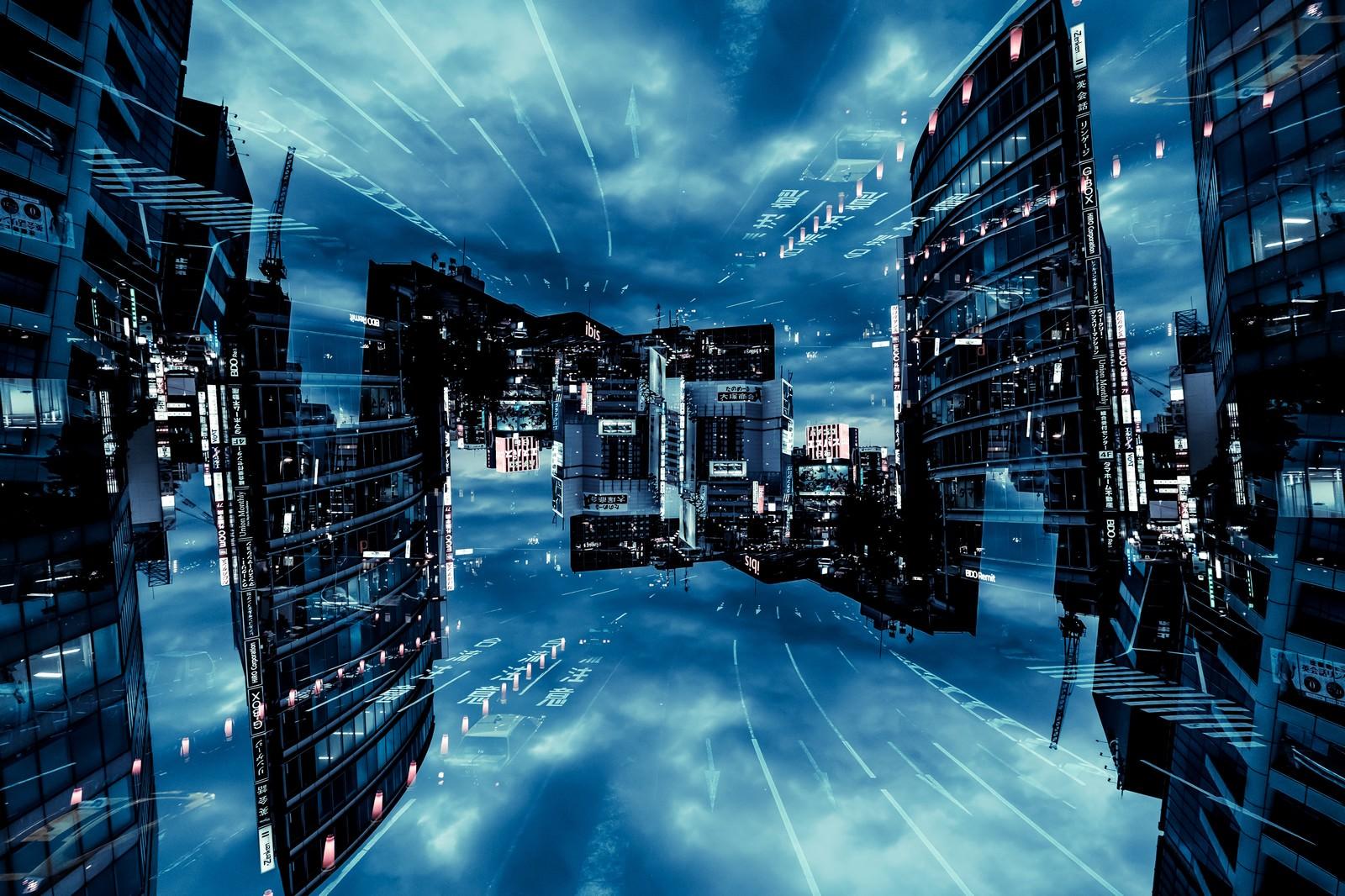 「仮想化都市(フォトモンタージュ)仮想化都市(フォトモンタージュ)」のフリー写真素材を拡大