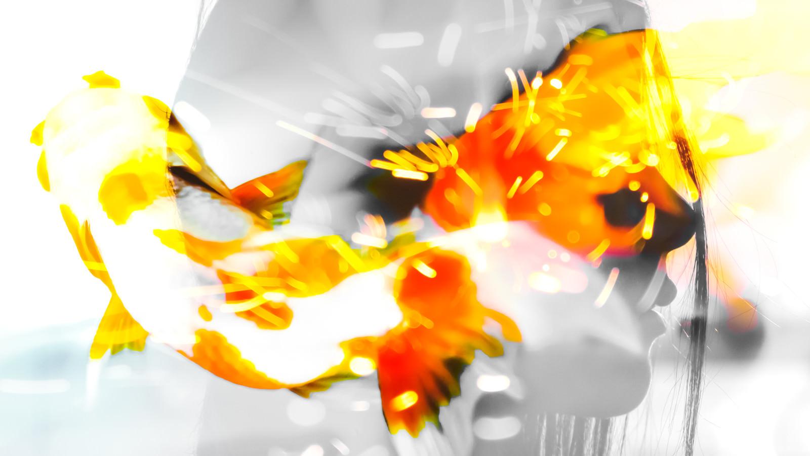 「女性の横顔と火花のフォトモンタージュ」の写真[モデル:Mizuho]