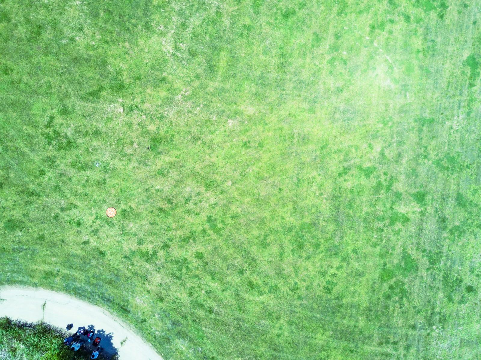「古河市渡良瀬川の河川敷にあるドローン練習場(上空)」の写真