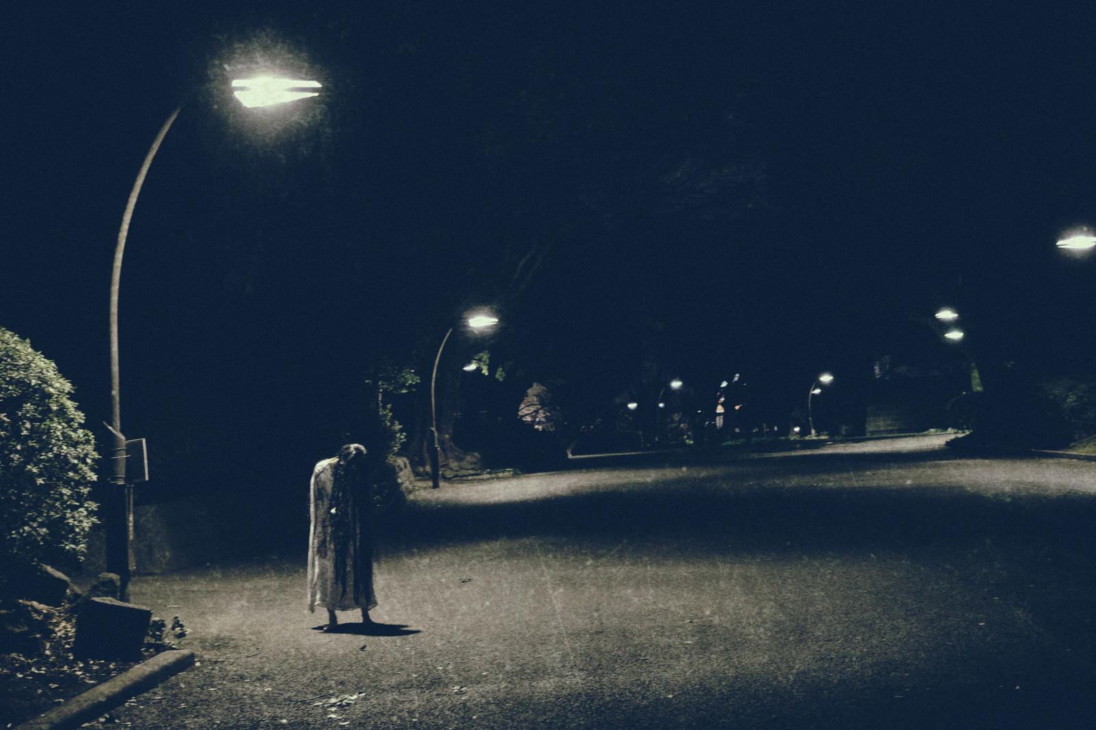 「薄暗い街灯下の女の怨念薄暗い街灯下の女の怨念」[モデル:緋真煉]のフリー写真素材を拡大