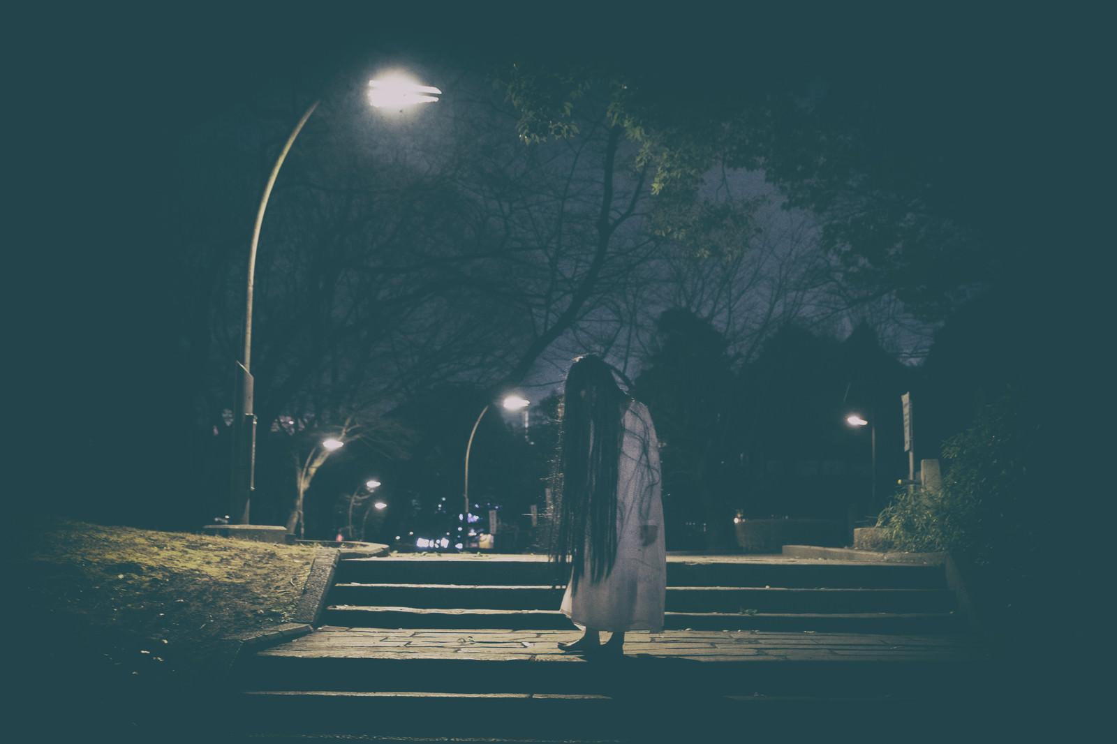 「公園のライトの下で佇む髪の長い女性」の写真