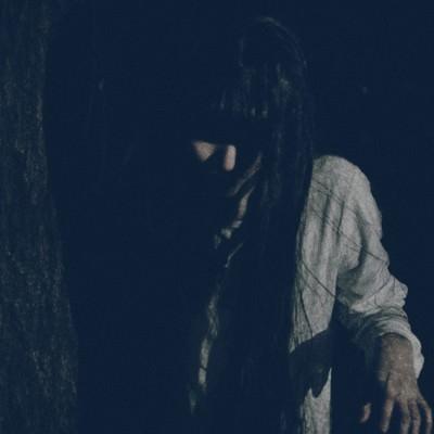 「木陰に潜む恐怖」の写真素材