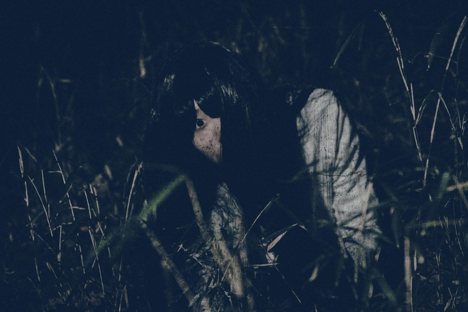 「[恐怖]草むらを這う髪の長い女性」の写真[モデル:緋真煉]
