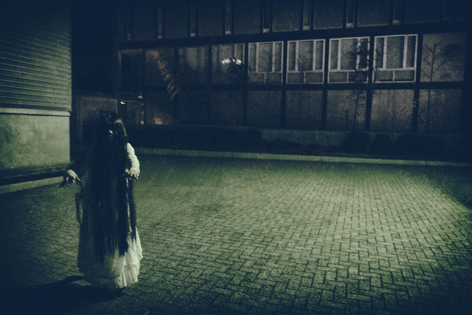 「黒髪の長い女性に追いかけられる様子」の写真[モデル:緋真煉]