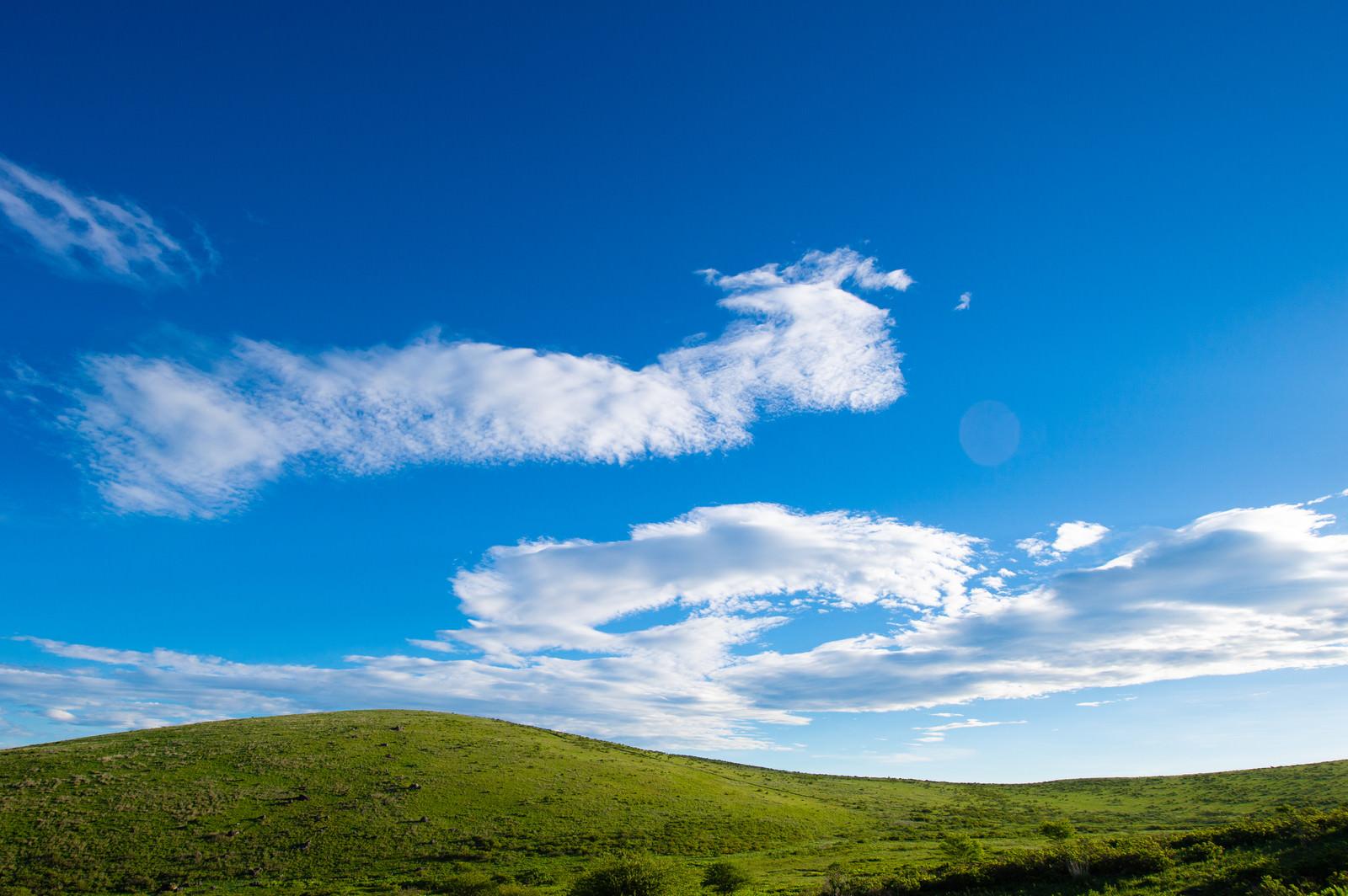 「青空と霧ヶ峰高原」